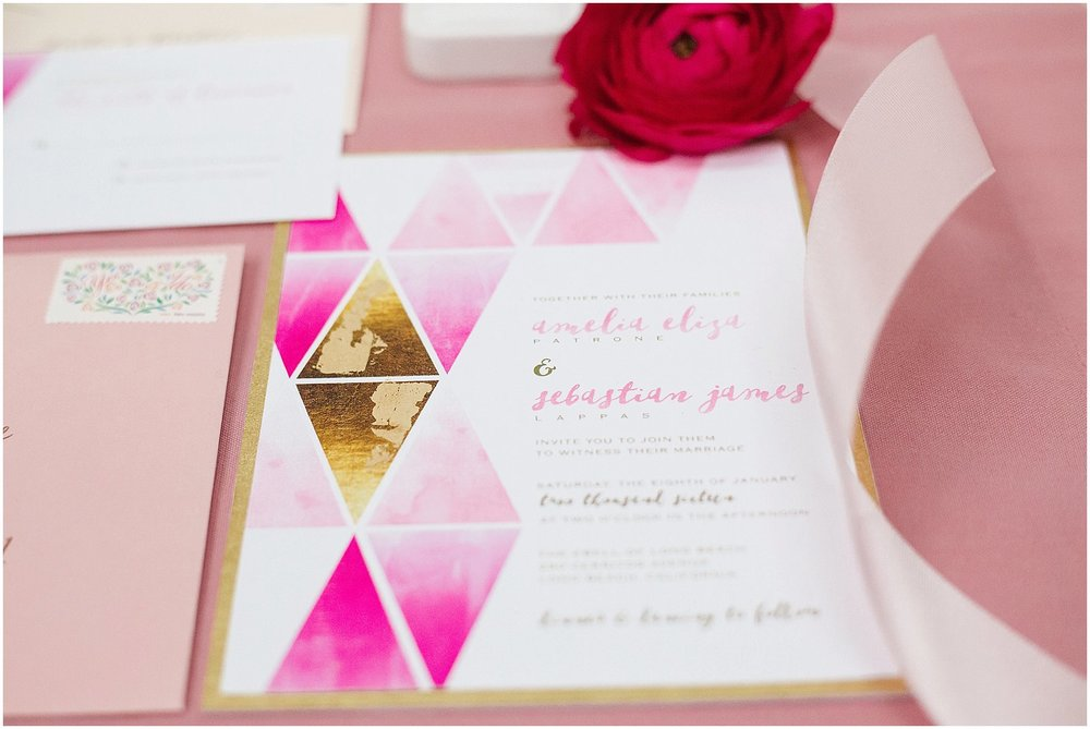 Pink & gold watercolor invitation suite | Phoenix Wedding Planner | Megan Dileen Events