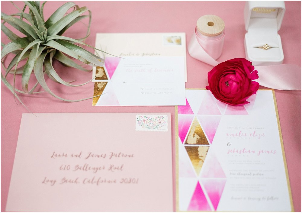 Pink Watercolor & Geometric Wedding Invitation | Scottsdale Wedding Planner | Megan Dileen Events