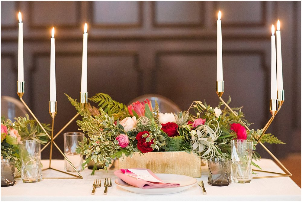 Pink & Protea Centerpiece with Gold Geometric Candelabras | Scottsdale Wedding Planner | Megan Dileen Events