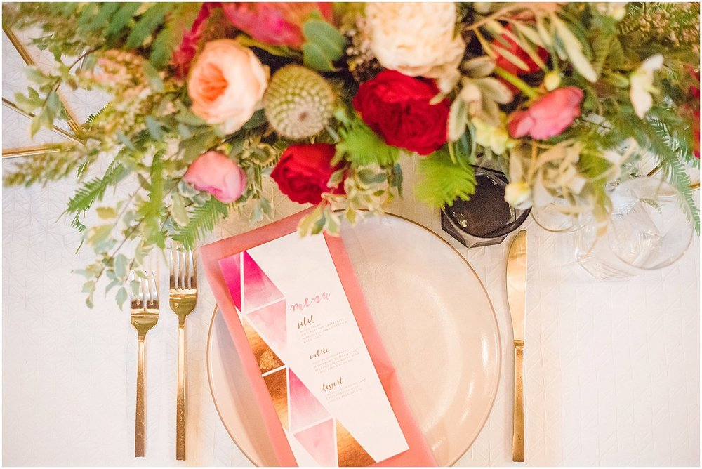 Modern Place Setting with La Tavola Linens & Gold Flatware | Phoenix Wedding Planner | Megan Dileen Events