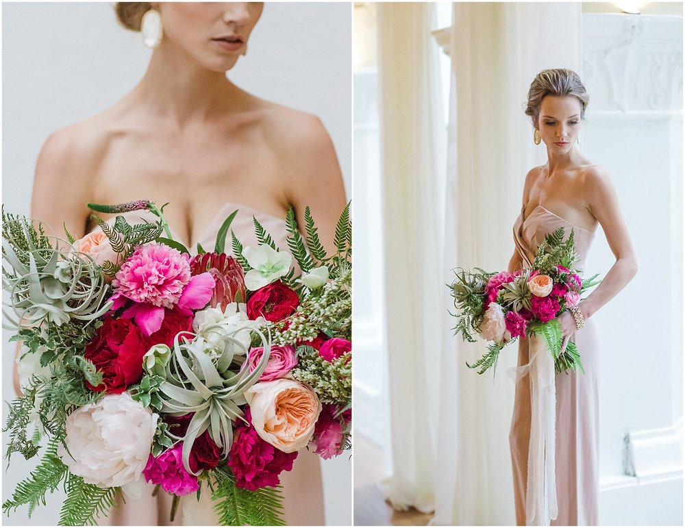 Blush Jumpsuit, Peony & Airplant Bouquet | Phoenix Wedding Planner | Megan Dileen Events