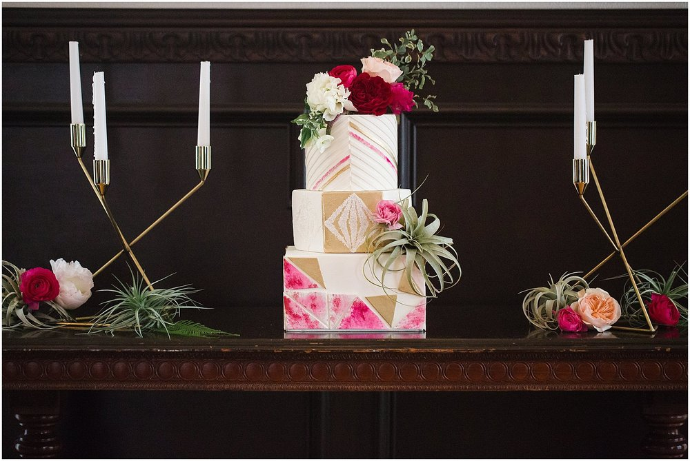 Wedding Cake with Geometric Details | Phoenix Wedding Planner | Megan Dileen Events