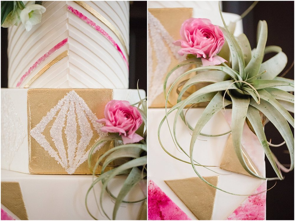 Geometric Wedding Cake with Pink Watercolor Details & Air Plants | Phoenix Wedding Planner | Megan Dileen Events