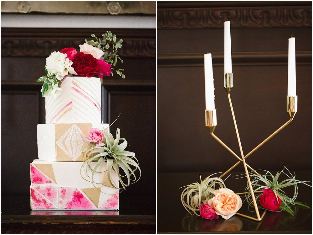 Modern Wedding Cake with Pink Watercolor | Scottsdale Wedding Planner | Megan Dileen Events