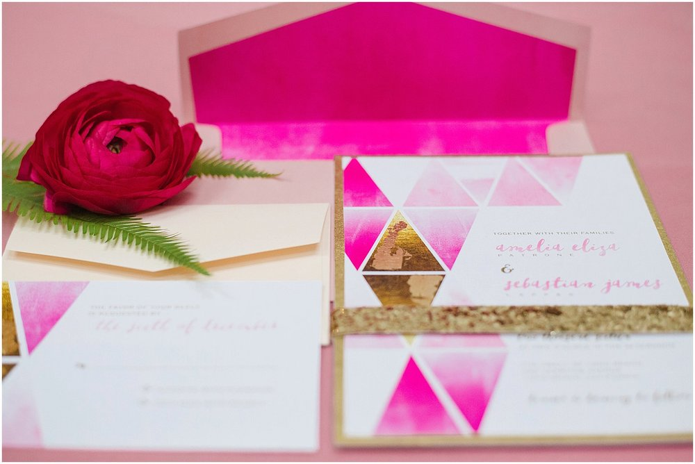 Modern Pink & Gold Geometric Wedding Invitation | Phoenix Wedding Planner | Megan Dileen Events