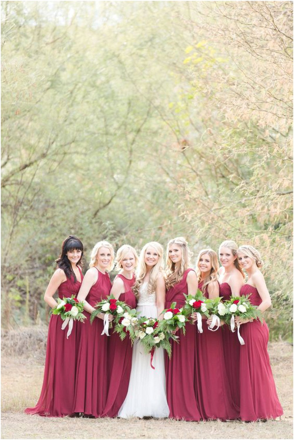 Bridesmaids in Red Jenny Yoo Annabelle | Arizona Wedding Planner