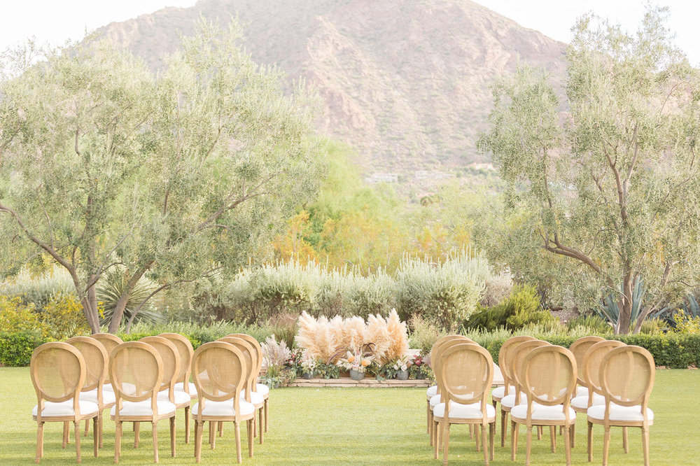 El Chorro Wedding Lawn with Pampas Grass | Paradise Valley Wedding Planner | Megan Dileen Events