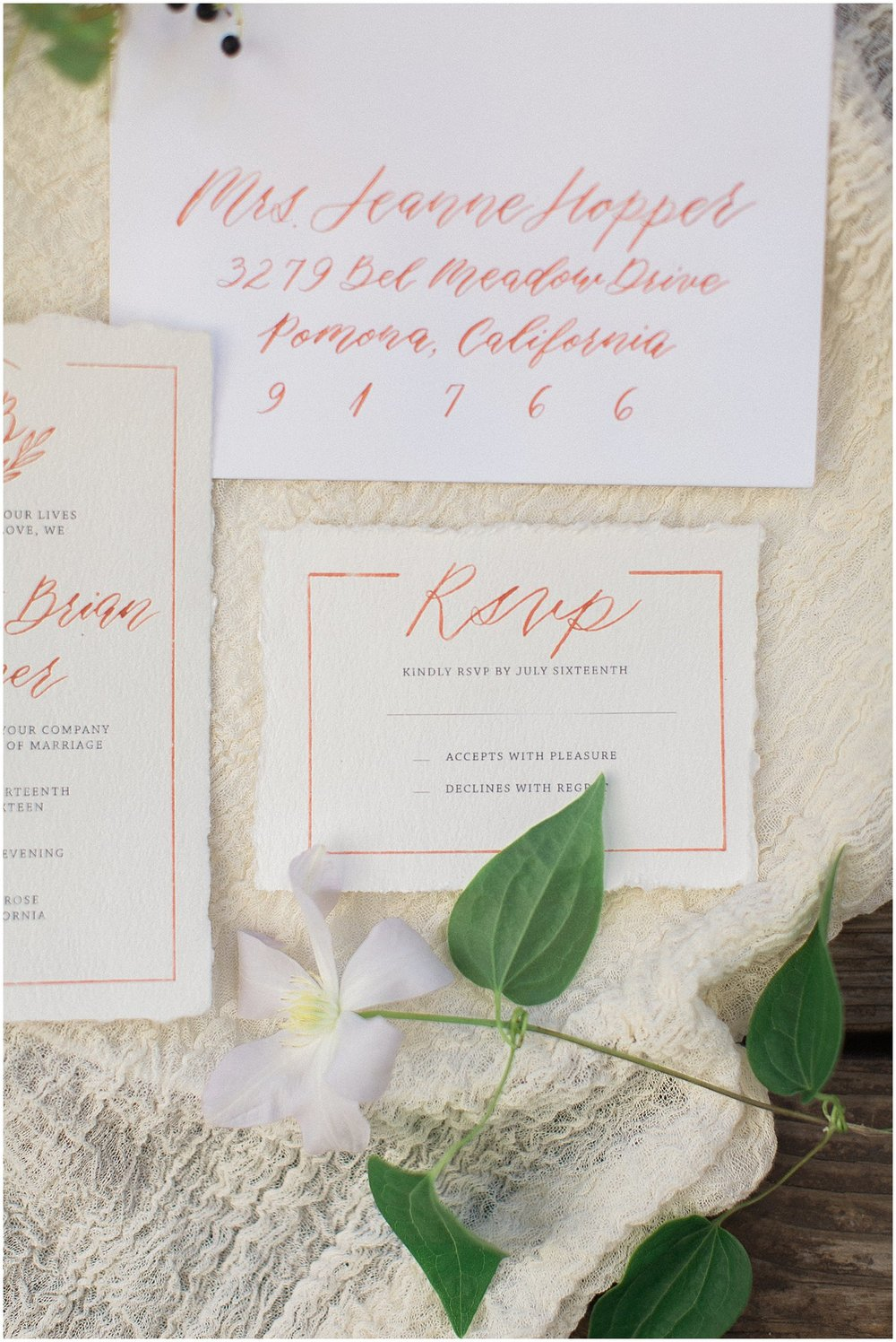 Rose Gold Calligraphy Wedding Invitation by Yours Truly Calligraphy & featured on Style Me Pretty | Arizona Wedding Planner | Megan Dileen Events