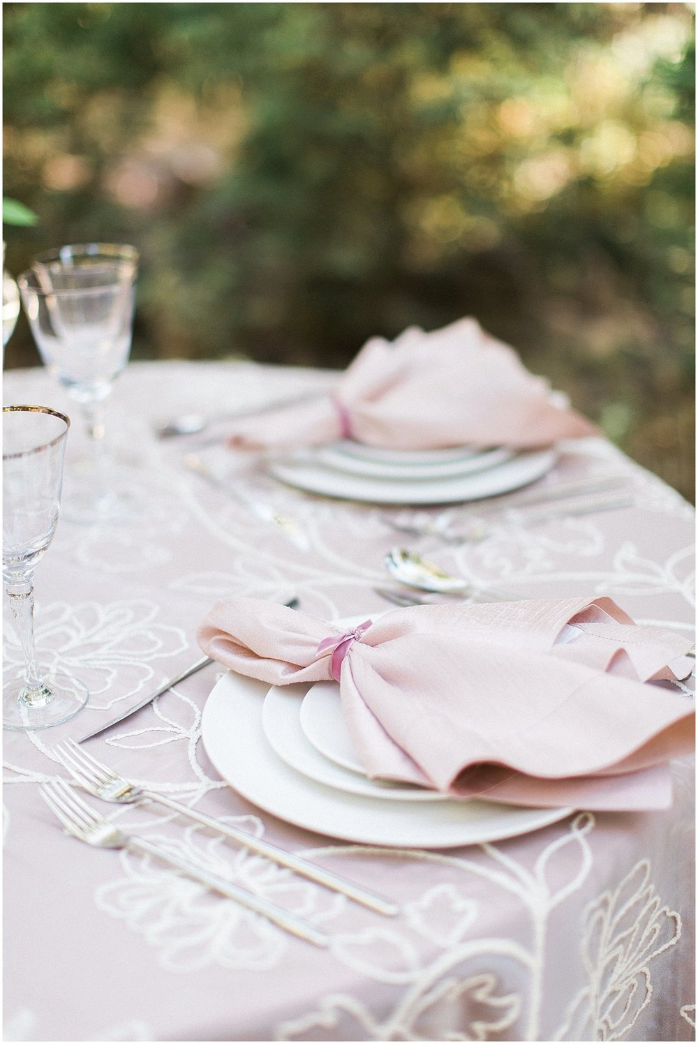 La Tavola Blush Dupioni Napkins Tied with Velvet Ribbon featured on Style Me Pretty | Phoenix Wedding Planner | Megan Dileen Events