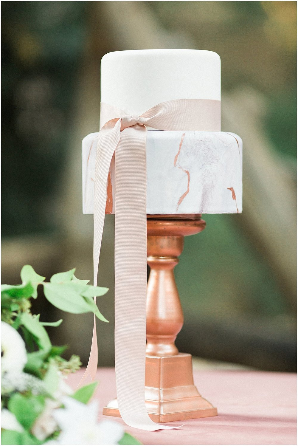 Blush & Rose Gold Marbled Wedding Cake by Laura Maries Cakes featured on Style Me Pretty | Scottsdale Wedding Planner | Megan Dileen Events
