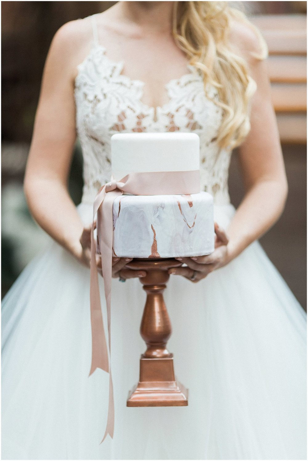 Blush & Rose Gold Marbled Wedding Cake by Laura Maries Cakes featured on Style Me Pretty | Phoenix Wedding Planner | Megan Dileen Events