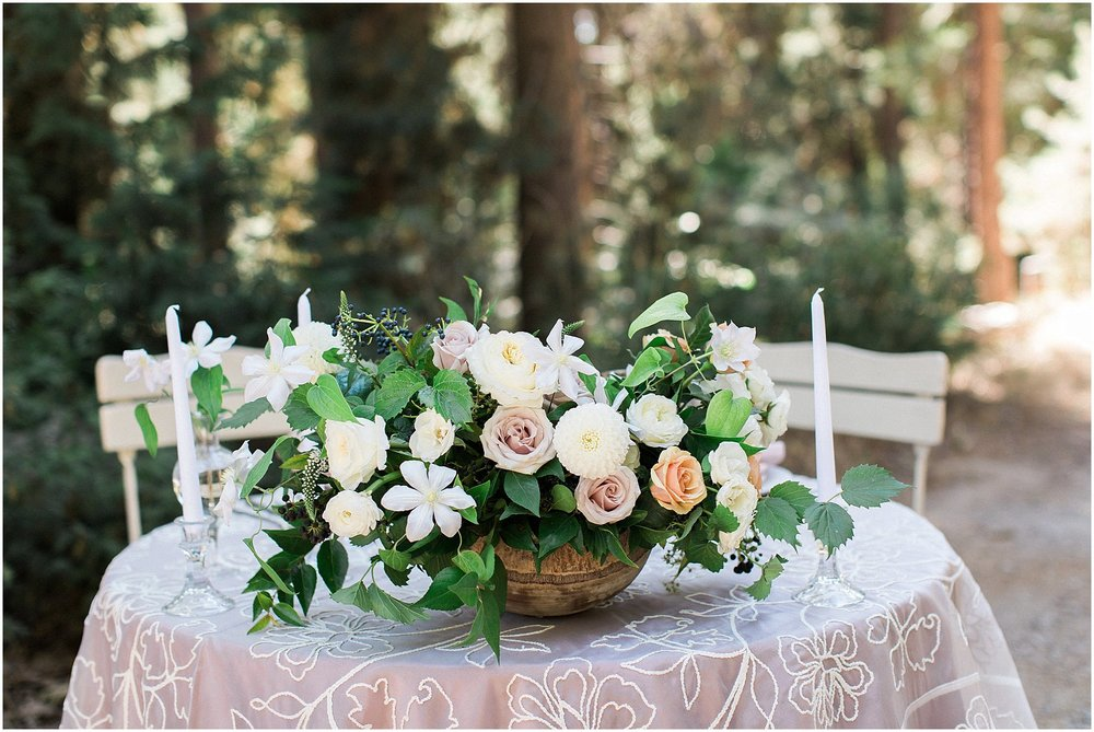 Blush Rose Centerpiece & La Tavola Peony Linen Sweetheart Table featured on Style Me Pretty | Phoenix Wedding Planner | Megan Dileen Events
