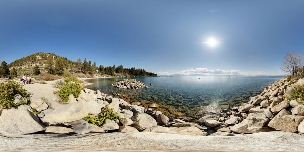 360º Landscape; View of Top of Cave Rock & Lake Tahoe.
