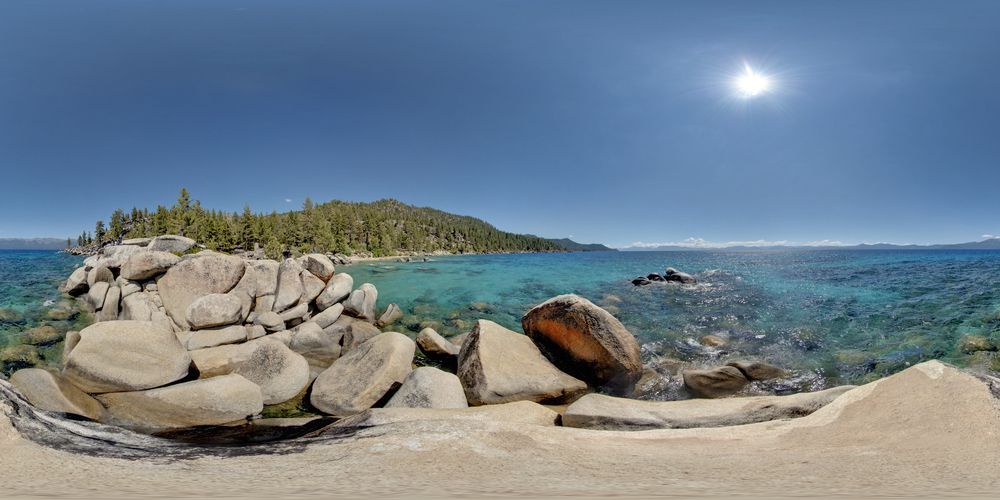 360º Landscape; View of Rocks at Chimney Beach & Lake Tahoe.