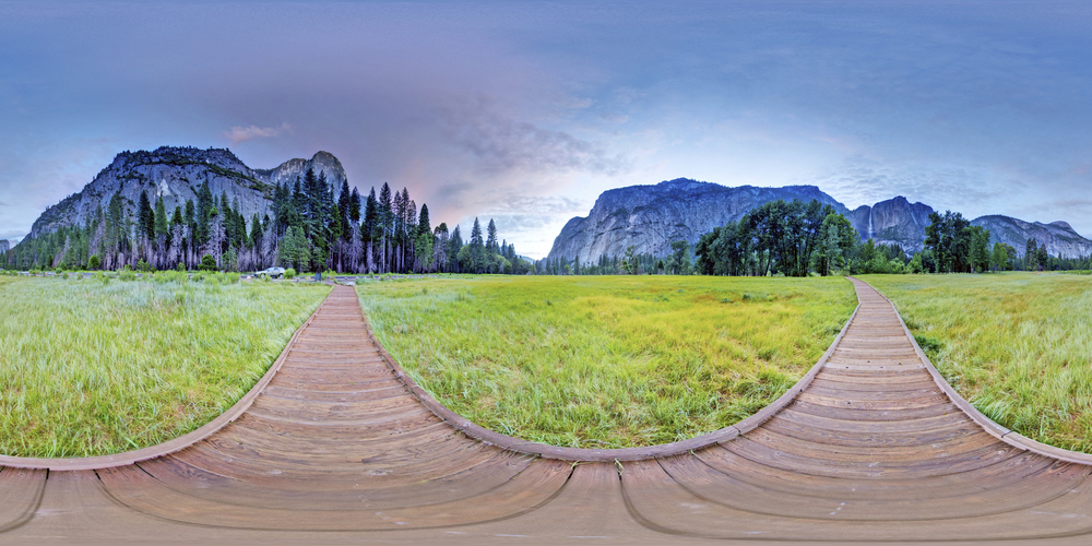 360º Landscape; View of El Capitan Meadow at Yosemite National Park.