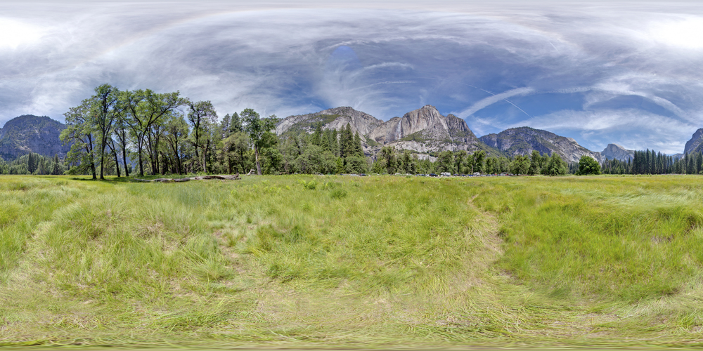 360º Landscape; View of Yosemite Falls Meadow at Yosemite National Park.