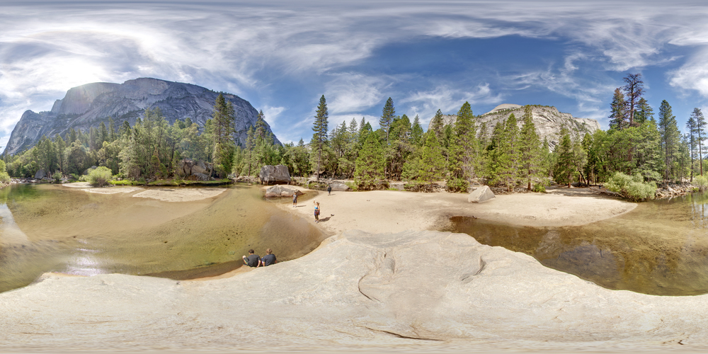 360º Landscape; View of Mirror Lake at Yosemite National Park.