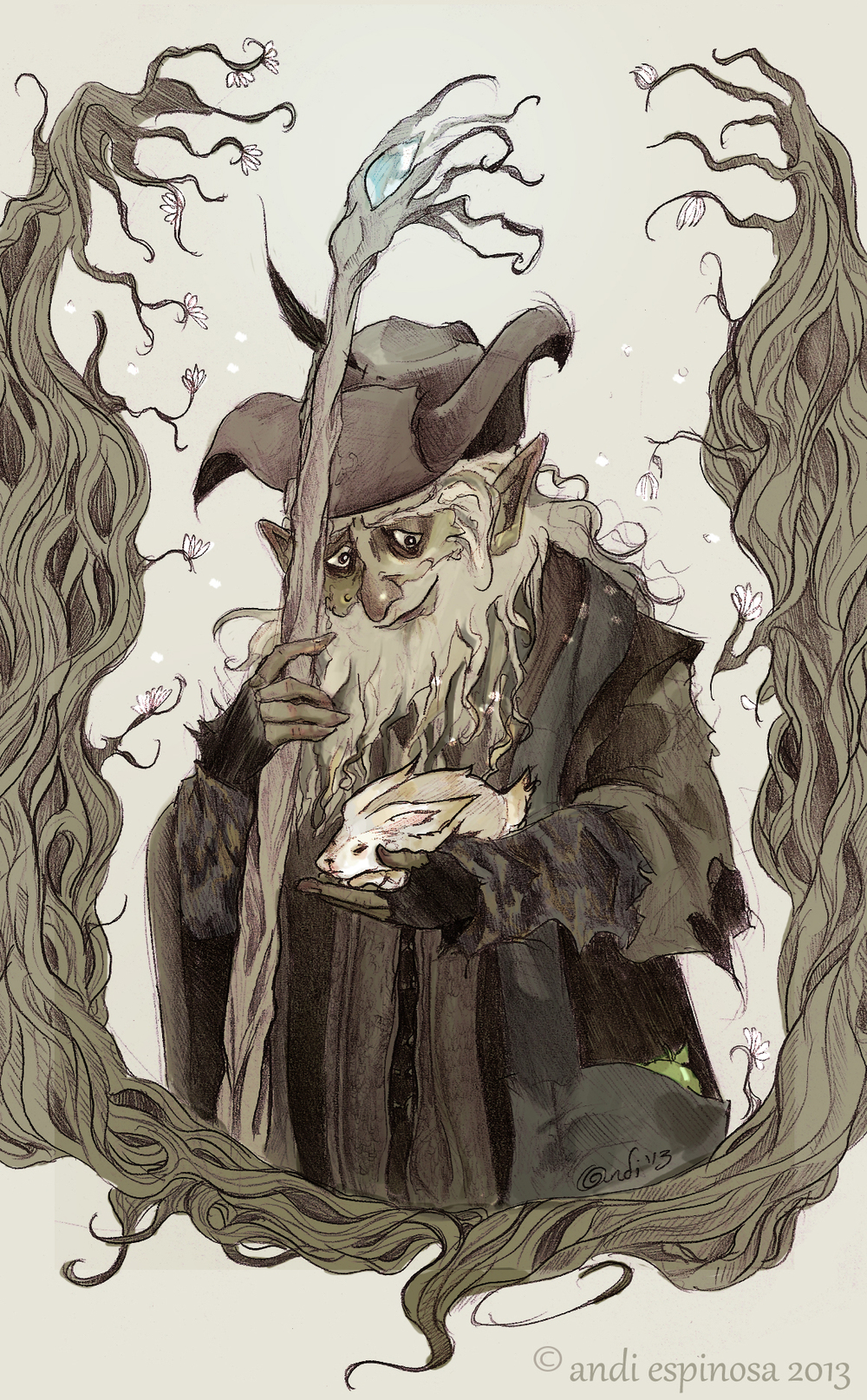 Radagast the Brown,  pencil & Photoshop   © Andi Espinosa 2013