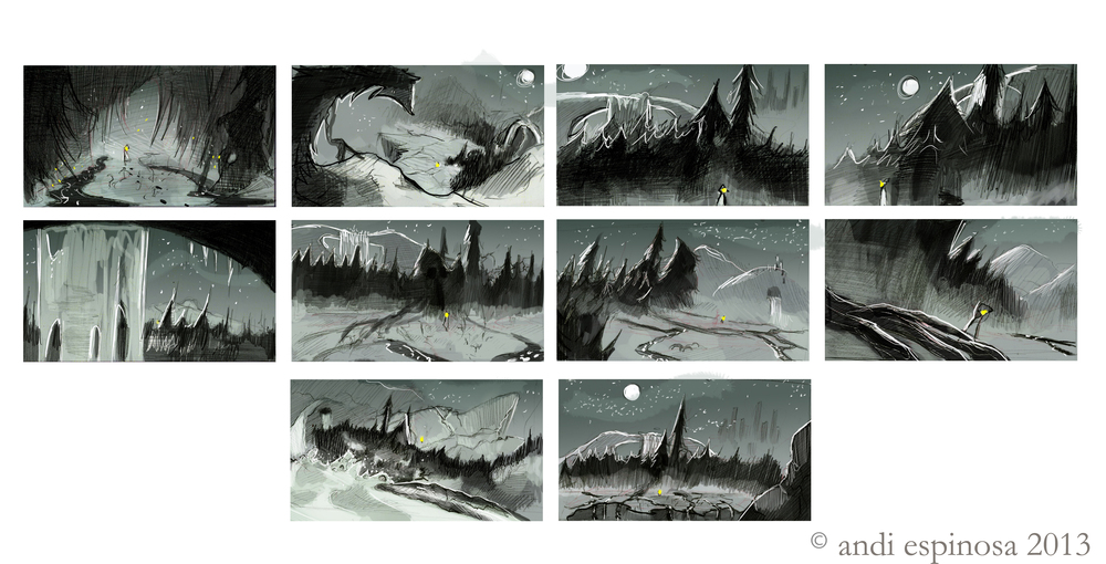 Stream Country thumbnails,  pencil & Photoshop    © Andi Espinosa 2013