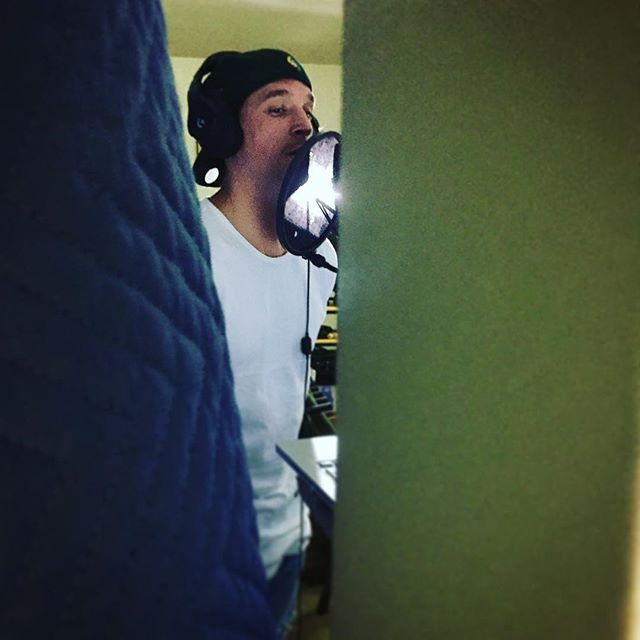 @weamliam laying down some vocals for the end credits song yesterday at @tunaloons studio. Shooting the music video today!!!