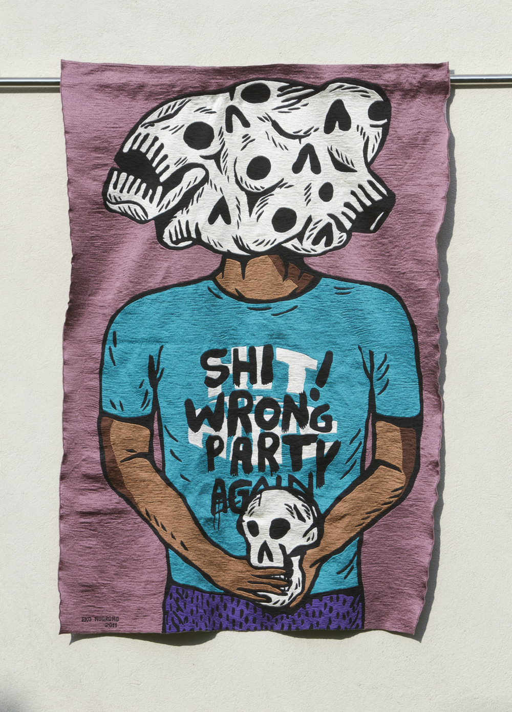 Eko Nugroho   Shit Wrong Party Again , 2011 embroidered rayon thread on fabric backing 53.94 x 37.4 inches 137 x 95 cm