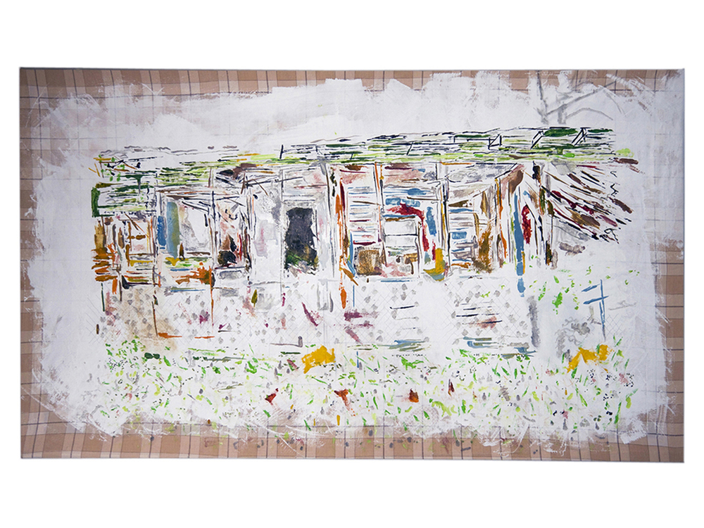Tameka Norris    Post-Katrina Painting #2 , 2009-2010 Bedsheet, oil paint, spray paint, thread 40 x 68 inches 101.6 x 172.7 cm
