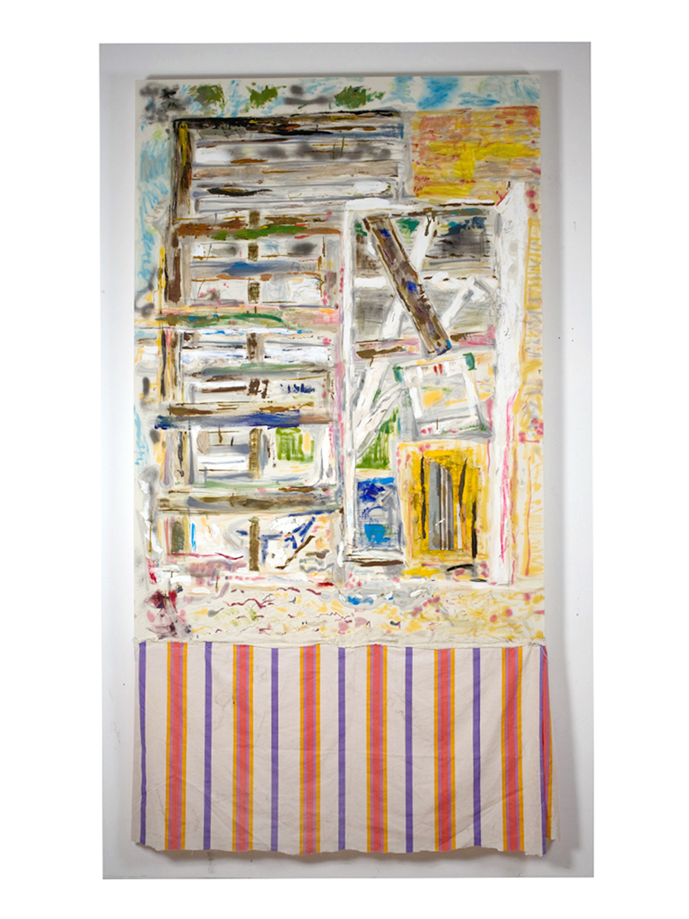 Tameka Norris   Post-Katrina Painting #7 , 2009-2010 Bedsheet, oil paint, spray paint, thread 90 x 50 inches 228.6 x 127 cm