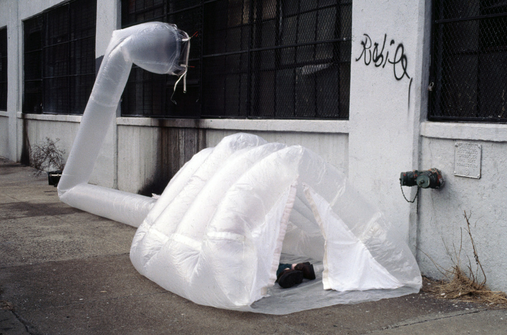 Michael Rakowitz   Joe Heywood's paraSITE shelter  , 2000   Plastic bags, polyethylene tubing, hooks, tape   Battery Park City, Manhattan
