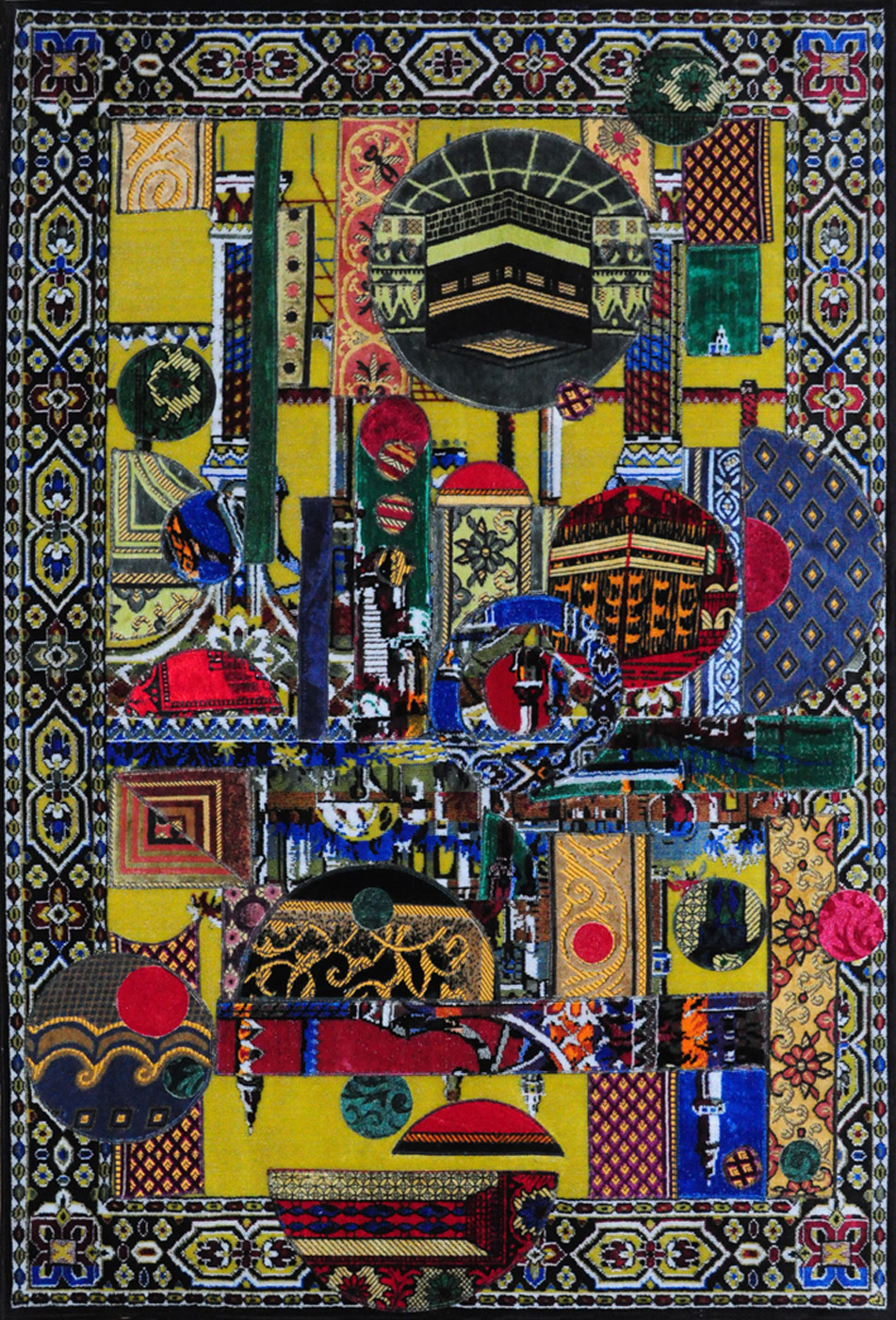 Mounir Fatmi   Father's Carpet #8 , 2010 unique hand-made prayer rug collage 55.25 x 37.5 inches 140.3 x 95.3 cm