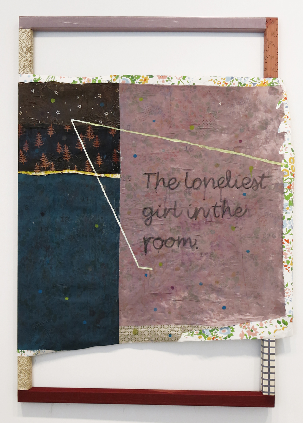 Tameka Norris    The Loneliest Girl in the Room , 2014 acrylic and oil on fabric and wallpaper 40 x 60 inches 101.6 x 152.4 cm