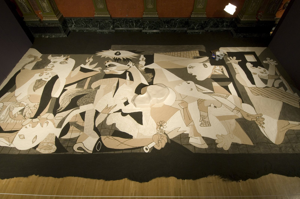 Lee Mingwei   Guernica in Sand , 2007 mixed media installation Installation view at the Chicago Cultural Center