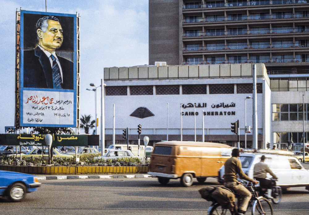 Lucien Samaha   Nasser at Cairo Sheraton (Cairo Billboards) , 1984, printed 2014 archival pigment print 30 x 44 inches 76.2 x 111.8 cm