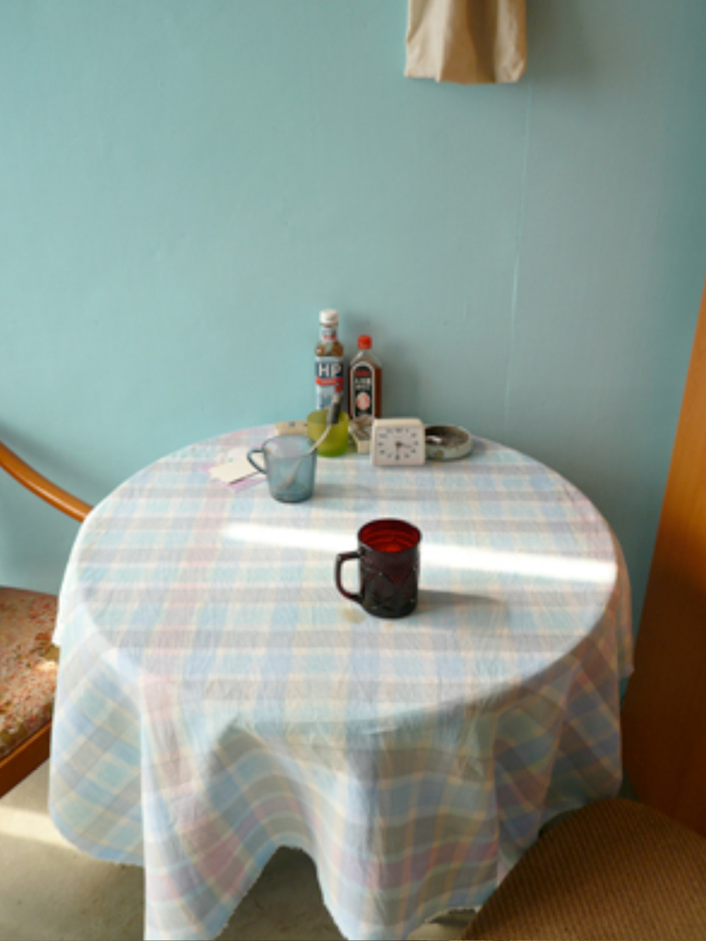 Lee Kit   Hand-Painted Cloth Used as Tablecloth , 2010-2011 acrylic on fabric, photo document dimensions variable cloth, 40 3/4 x 42 3/4 inches