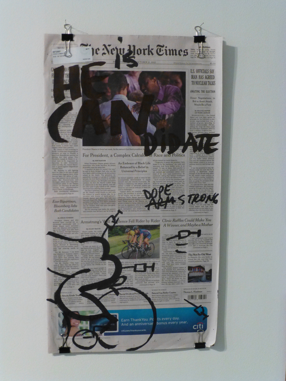 Dan Perjovschi   The Last 100 Days: October 21, 2012 , 2012 Paint marker on newspaper 22 x 12 inches 55.9 x 30.5 cm