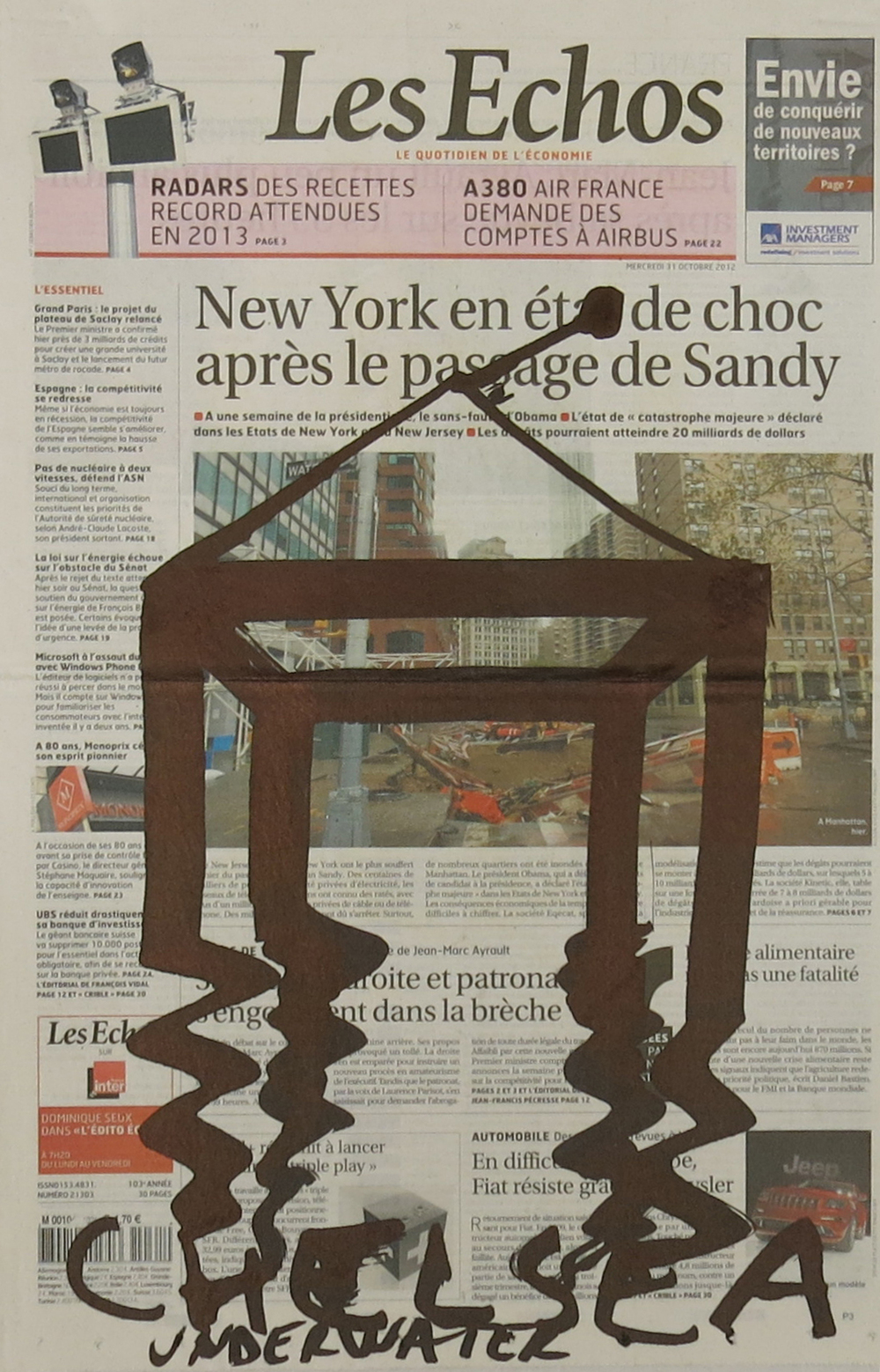 Dan Perjovschi   The Last 100 Days: October 31, 2012 , 2012 Paint Marker on Newspaper 22 x 12 inches 55.9 x 30.5 cm