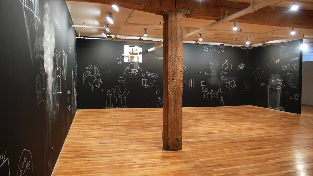 Dan Perjovschi   You Remember My Pin? , 2008 white chalk on black walls Installation view at Lombard-Freid Projects, NY