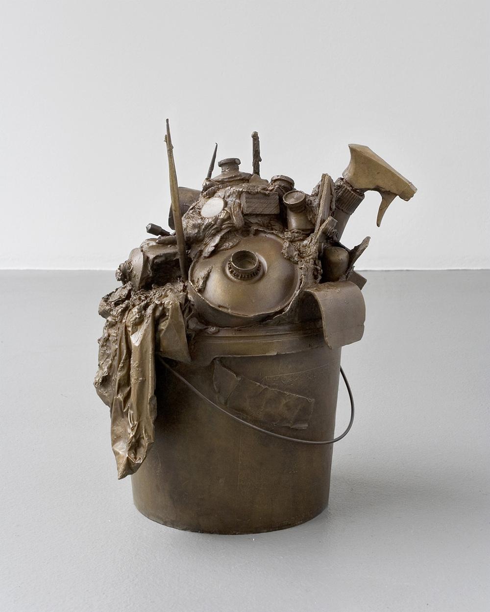 Ulrich Lamsfuss   ohne Titel (Spaltprodukt 3) , 2008 Bronze, oval bucket, artist's tools 14.37 x 12.6 x 10.04 inches (approx.) 36.5 x 32 x 25.5 cm