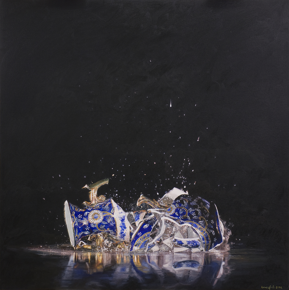 Ulrich Lamsfuss   Ryan McVay, Vase Shattering (gty. im. #200436912001) No. 1  , 2012   oil on canvas   49.21 x 49.21 inches   125 x 125 cm