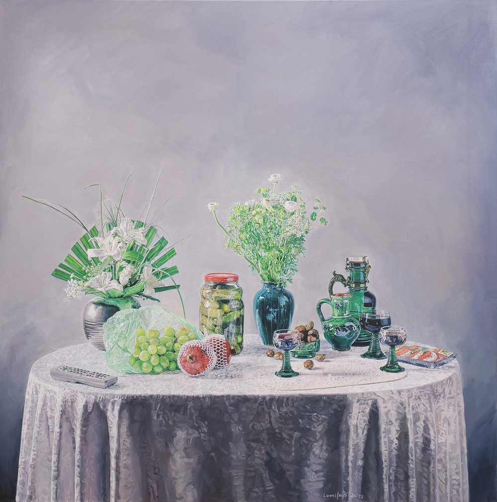 Ulrich Lamsfuss   Oliver Schwarzwald/Olaf Habelmann, Transgression / Exés (Kampnagel 2003)  , 2012   oil on canvas   49.21 x 49.21 inches   125 x 125 cm