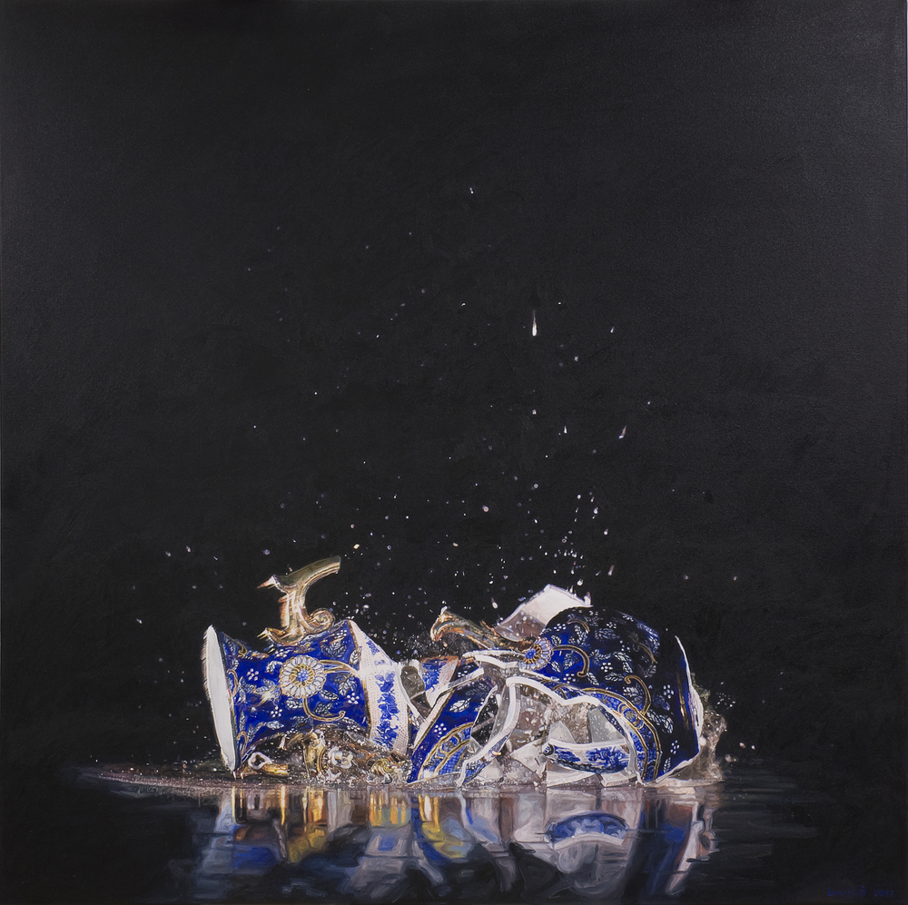 Ulrich Lamsfuss   Ryan McVay, Vase Shattering (gty. im. #200436912001) No. 3  , 2012   oil on canvas   49.21 x 49.21 inches   125 x 125 cm