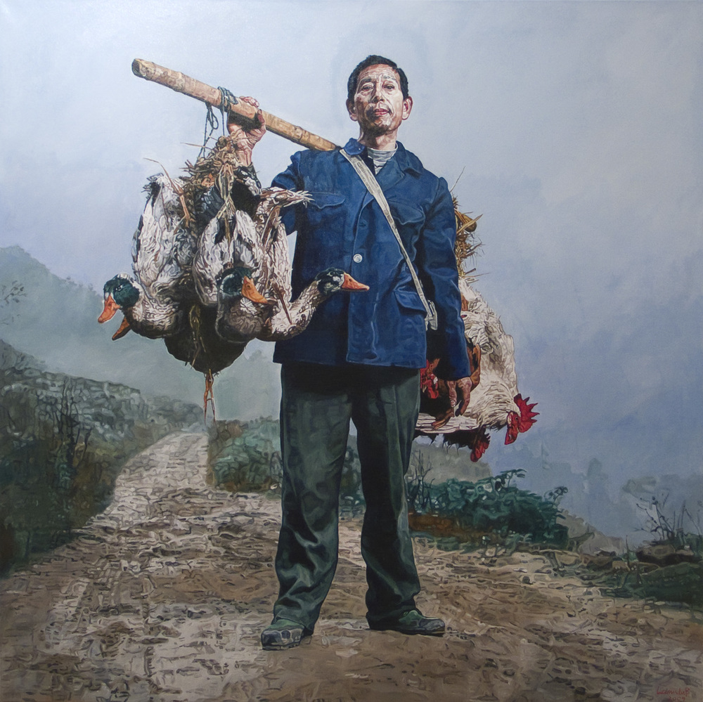 Ulrich Lamsfuss  M onika Fischer/ Mathias Braschler: Das menschliche Antlitz Chinas (Stern 30/2008) , 2009 oil on canvas 62.99 x 62.99 inches 160 x 160 cm