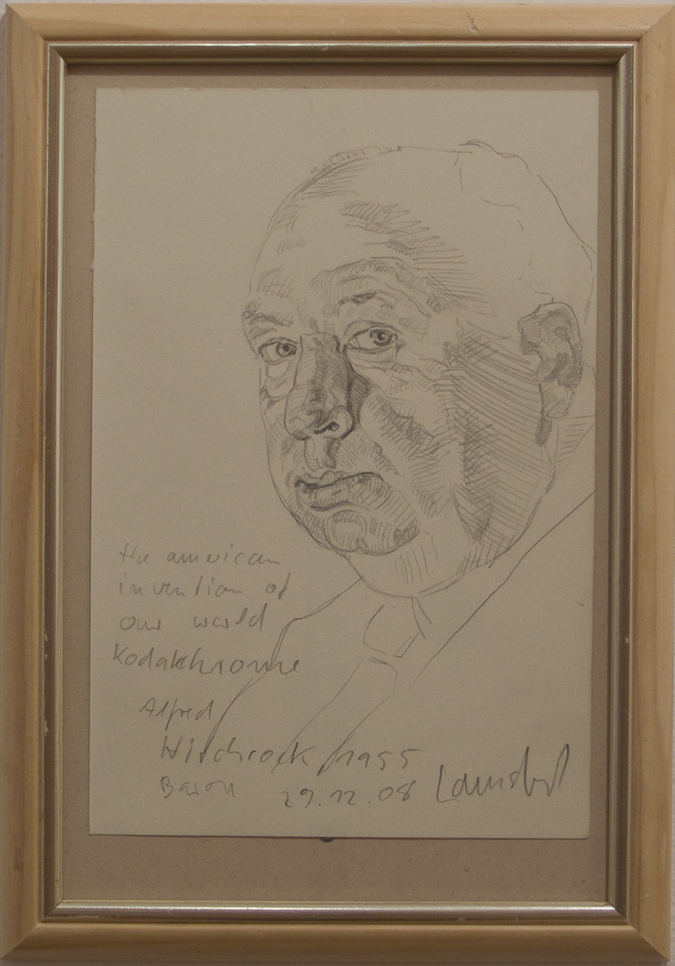 Ulrich Lamsfuss   Baron, Alfred Hitchcock,1955 (The American Invention of Our World. Kodachrome) , 2009 Pencil on paper, vintage frame 9 1/4 x 13 1/4 inches 23.5 x 33.7 cm