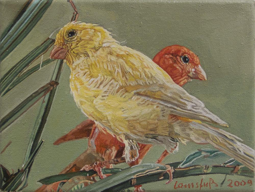 Ulrich Lamsfuss   Birdie I [Das optimale Kanarienfutter. Jede Saat hat ihren Sinn. (Das Tier Nr. 7, Juli 1989)] , 2009 oil on canvas 7.09 x 9.45 inches 18 x 24 cm