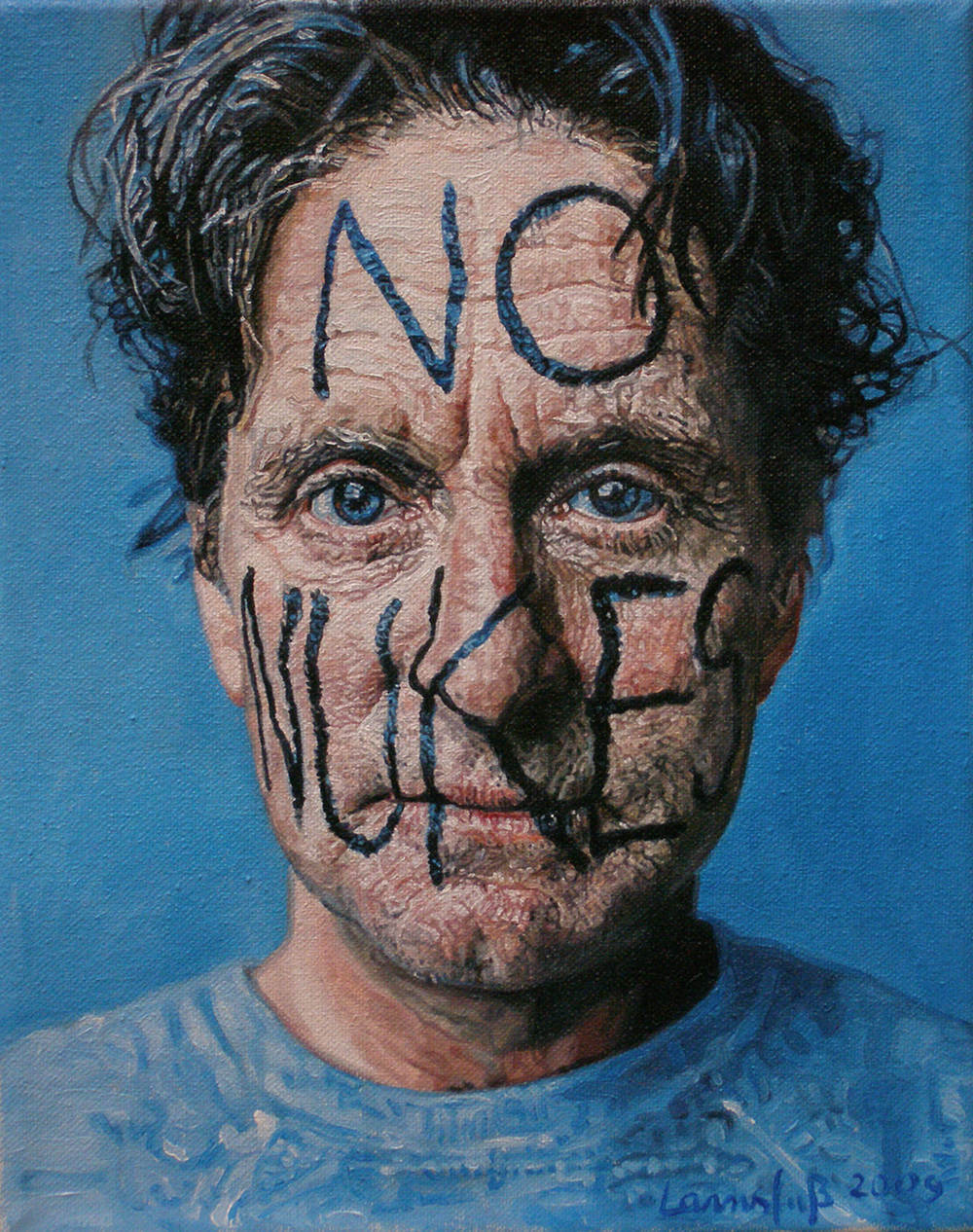 Ulrich Lamsfuss   Peggy Sigota, Michael Douglas–No Nukes (Jalouse, Dez 2000 - Jan 2001) , 2009 oil on canvas 12.01 x 9.65 inches 30.5 x 24.5 cm