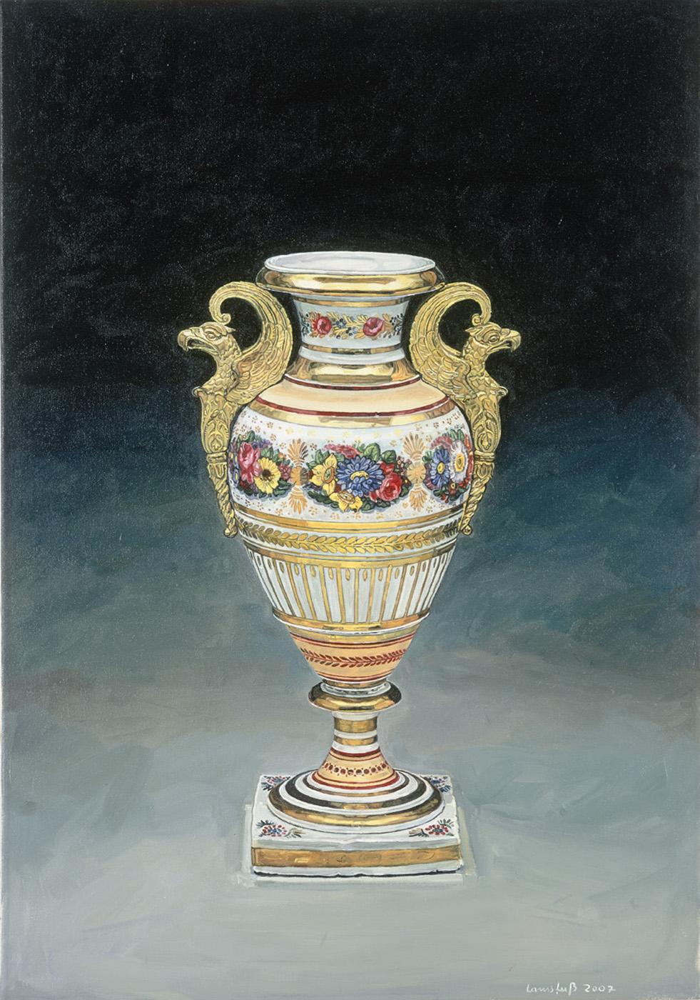 Ulrich Lamsfuss   William Tucker, Vase 1882, Die Kunst der USA, #1 , 2007 oil on canvas 39.4 x 27.6 inches 100 x 70 cm