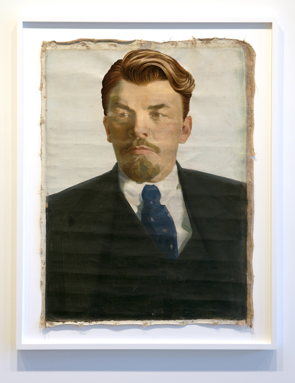 The Propeller Group   Lenin as Jay Gatsby in The Great Gatsby  , 2013   oil and embroidery on canvas   44 x 33.75 inches   111.8 x 85.7 cm