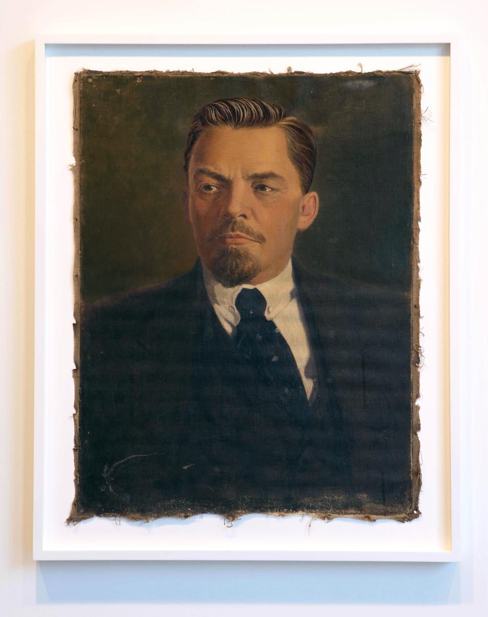 The Propeller Group   Lenin as Frank Wheeler in Revolutionary Road  , 2013   oil and embroidery on canvas   37.25 x 30.24 inches   94.6 x 76.8 cm