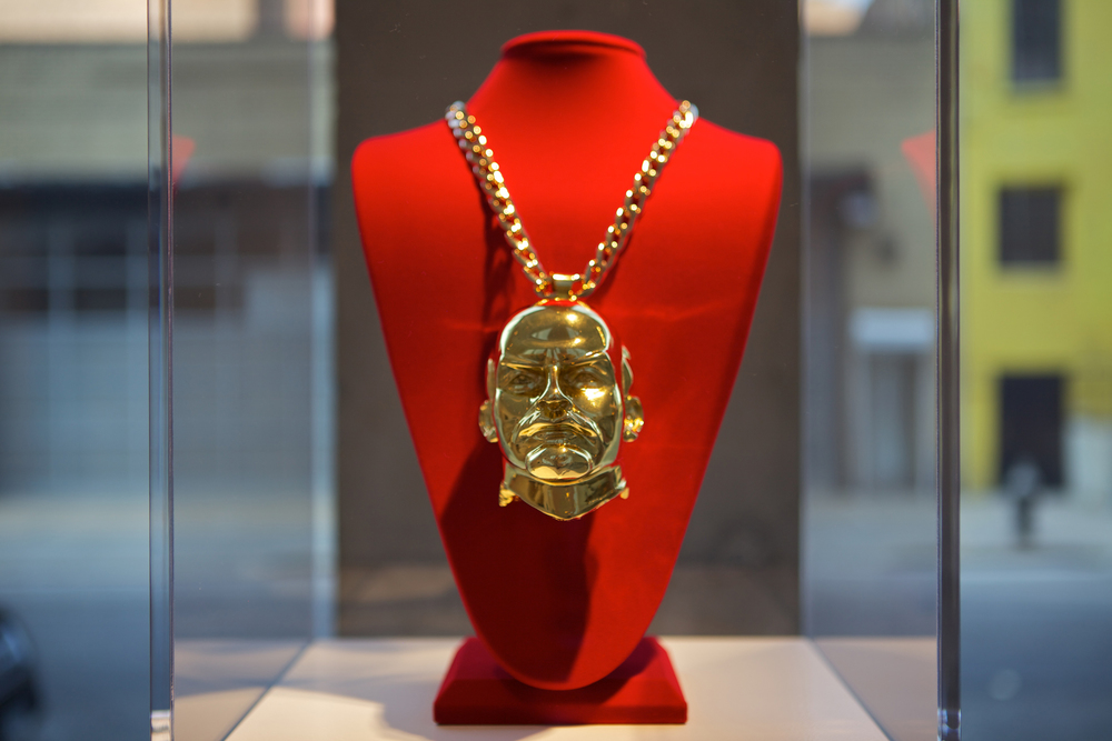 The Propeller Group   Lenin Piece  , 2013   3D printed composite pendant plated in 24k gold with 18k gold chain   9.375 x 5.75 x 15.24 inches   23.8 x 14.6 x 38.7 cm