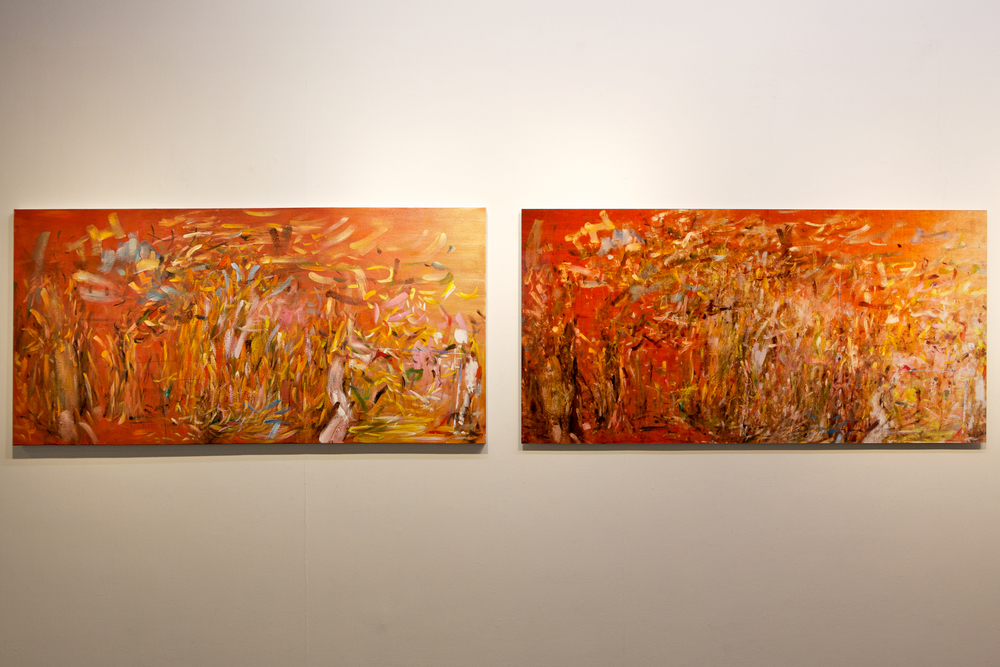 The Propeller Group   Phunam Reproduction: Subconscious Dafen 01 (diptych)  , 2012   oil on canvas   archival inkjet print   painting: 31.5 x 74.8 inches (80 x 190 cm)   photograph: 31.5 x 74.8 inches (80 x 190 cm)