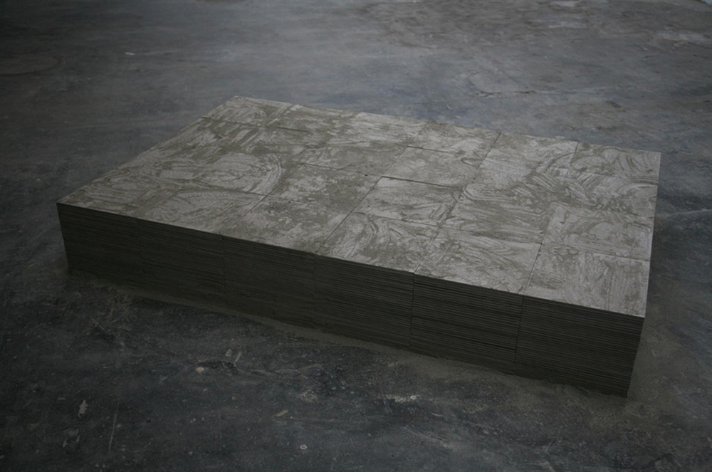 Mona Vatamanu & Florin Tudor   Socle for the Labor Monument , 2009 installation, ceramic tiles and concrete dust imensions variable